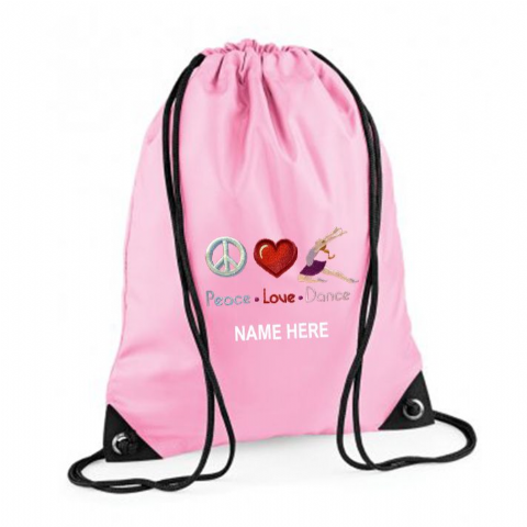 Personalised PEACE LOVE DANCE Drawstring PE Swim Bag